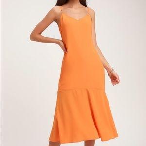 Lulus Lovely Lillies Orange Midi Dress